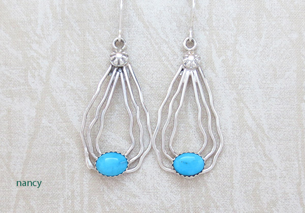 Sterling Silver Wire & Turquoise Earrings Native American Jewelry - 4350sn