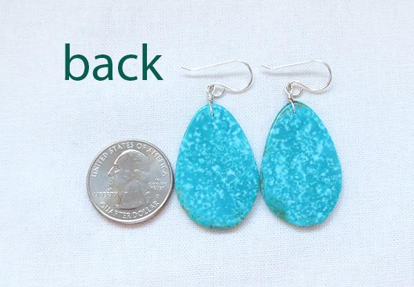 Image 2 of       Santo Domingo Jewelry Turquoise Slab Earrings  - 2372pl
