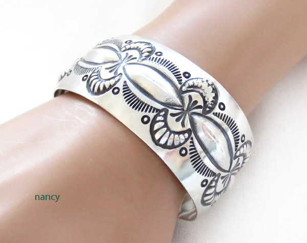 Image 1 of    Wide Stamped Sterling Silver Repousse Bracelet Navajo Jewelry - 2370rb