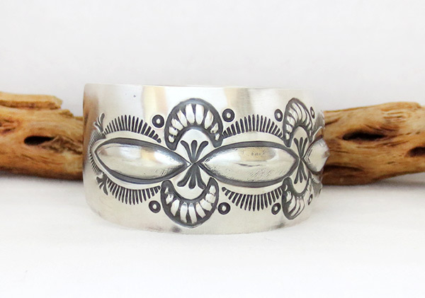 Image 2 of    Wide Stamped Sterling Silver Repousse Bracelet Navajo Jewelry - 2370rb