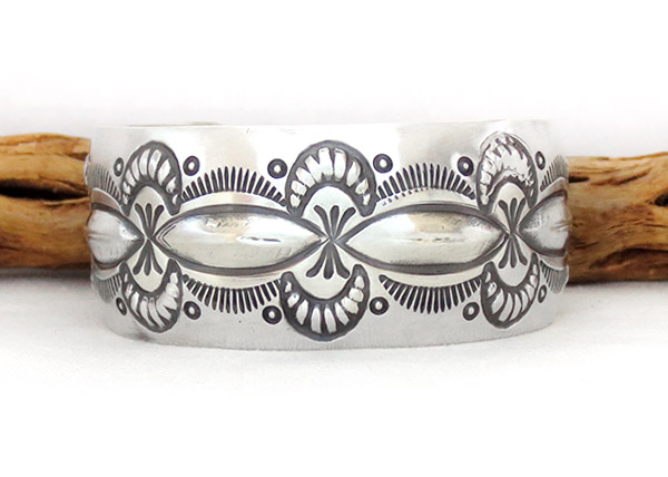 Image 0 of    Wide Stamped Sterling Silver Repousse Bracelet Navajo Jewelry - 2370rb