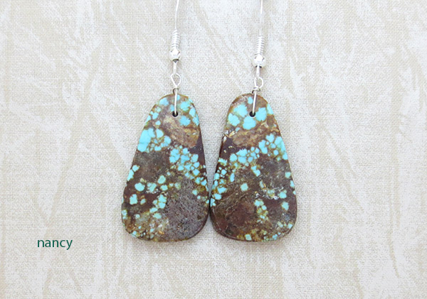 Image 0 of   Native American Jewelry #8 Mine Turquoise Slab Earrings - 2376dt