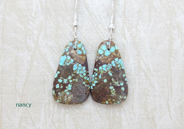 Native American Jewelry #8 Mine Turquoise Slab Earrings - 2376dt