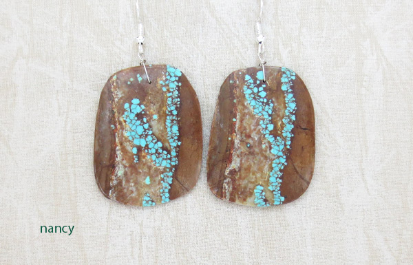 Native American Jewelry #8 Mine Turquoise Slab Earrings - 2378dt