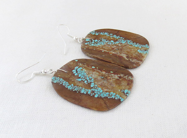 Image 1 of    Native American Jewelry #8 Mine Turquoise Slab Earrings - 2378dt