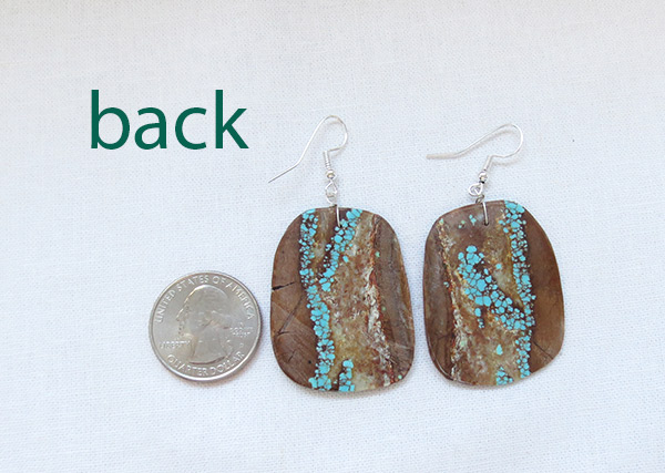 Image 2 of    Native American Jewelry #8 Mine Turquoise Slab Earrings - 2378dt