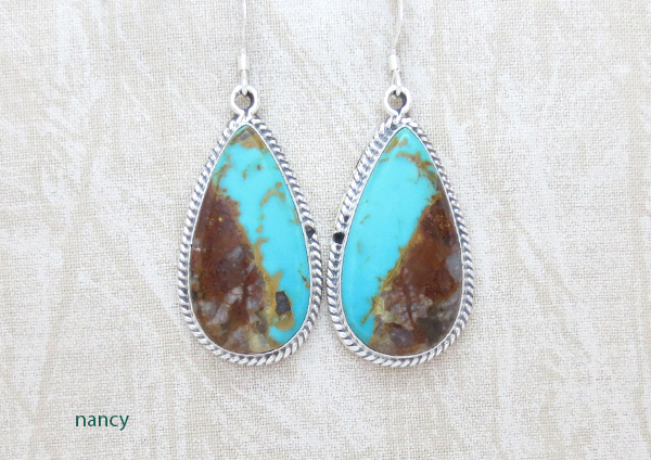 Image 0 of   Boulder Turquoise & Sterling Silver Earrings Native American Jewelry - 2379rb