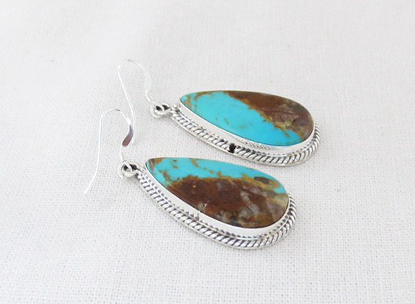 Image 1 of   Boulder Turquoise & Sterling Silver Earrings Native American Jewelry - 2379rb