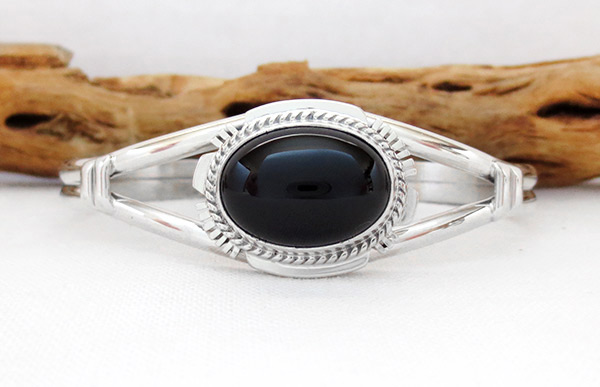 Image 0 of Black Onyx & & Sterling Silver Bracelet Native American Jewelry - 2375sn