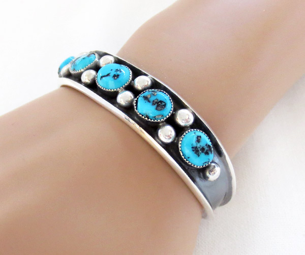 Turquoise & Sterling Silver Bracelet Native American Jewelry - 2371dt