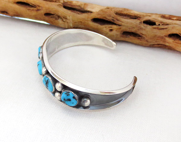Image 3 of   Turquoise & Sterling Silver Bracelet Native American Jewelry - 2371dt