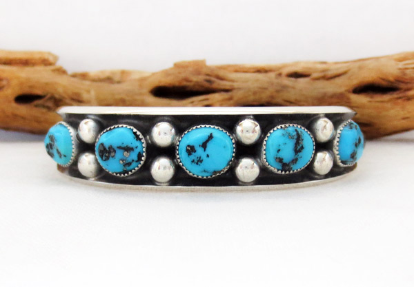 Image 1 of   Turquoise & Sterling Silver Bracelet Native American Jewelry - 2371dt