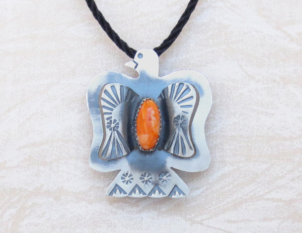 Orange Spiny Oyster & Sterling Silver Pendant / Pin Navajo Jewelry - 5216rb