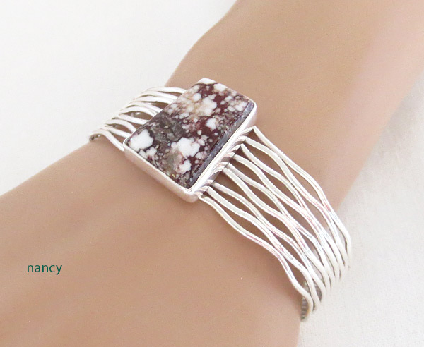 Image 1 of Wild Horse Stone & Sterling Silver Bracelet Navajo Jewelry - 3450sn