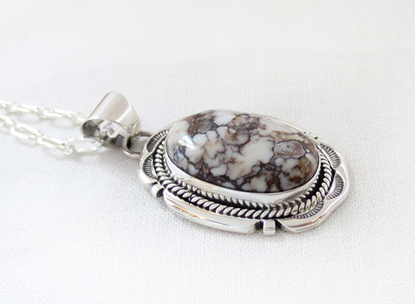 Image 2 of Large Wild Horse Stone & Sterling Silver Pendant Navajo Jewelry - 2381sn