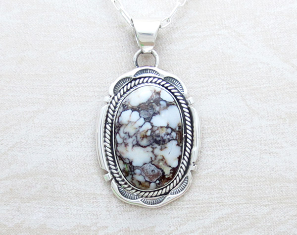 Image 0 of Large Wild Horse Stone & Sterling Silver Pendant Navajo Jewelry - 2381sn