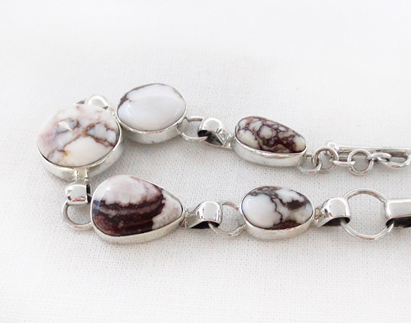 Image 2 of     Wild Horse Stone & Sterling Silver Link Bracelet Navajo Jewelry - 2384sn