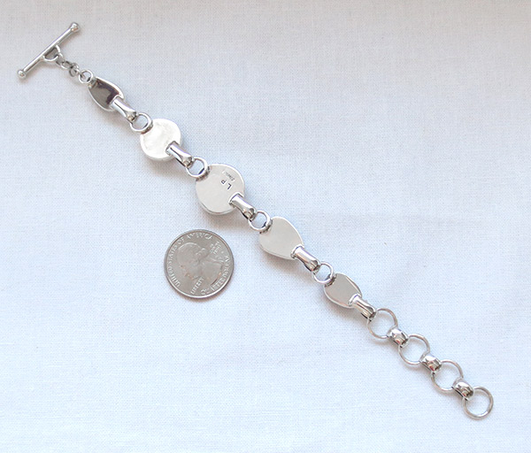 Image 3 of     Wild Horse Stone & Sterling Silver Link Bracelet Navajo Jewelry - 2384sn