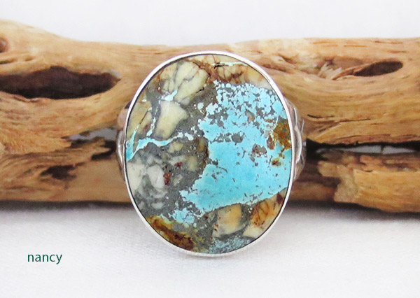 Boulder Turquoise & Sterling Silver Ring Sz 8.75 Navajo Jewelry - 2382sn