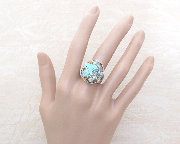 Image 1 of Boulder Turquoise & Sterling Silver Ring Sz 8.75 Navajo Jewelry - 2382sn