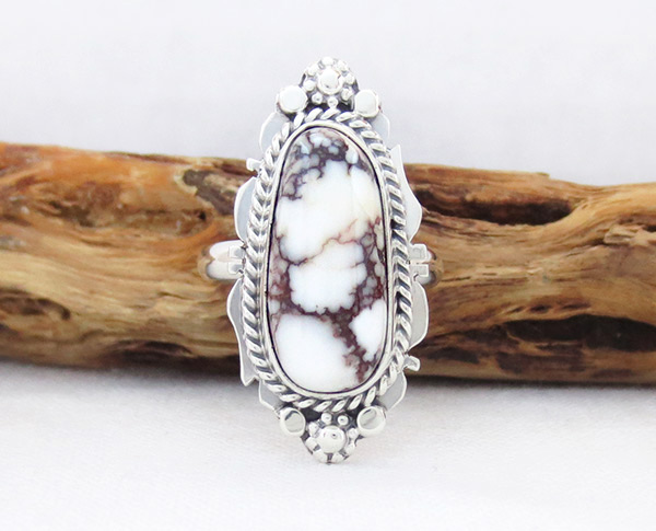 Image 0 of    Navajo Jewelry Wild Horse Stone & Sterling Silver Ring Sz 7 - 2386sn