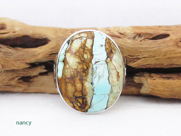 Boulder Turquoise & Sterling Silver Ring Sz 6.75 Navajo Jewelry - 2389sn