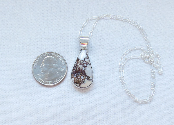 Image 1 of   Wild Horse Stone & Sterling Silver Pendant W/Chain Navajo Jewelry - 2387sn
