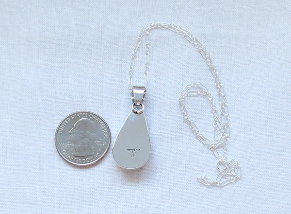 Image 3 of   Wild Horse Stone & Sterling Silver Pendant W/Chain Navajo Jewelry - 2387sn