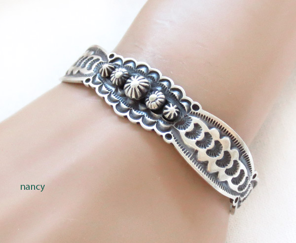 Stamped Sterling Silver Bracelet Native American Jewelry - 2385sn