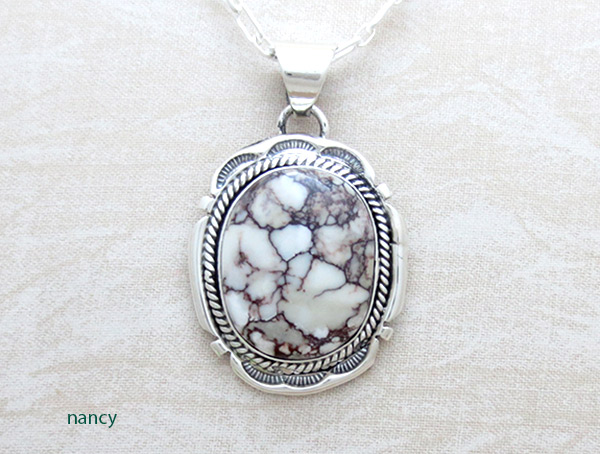 Image 0 of   Big Wild Horse Stone & Sterling Silver Pendant W/Chain Navajo Jewelry - 1207sn