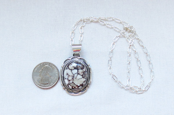 Image 1 of   Big Wild Horse Stone & Sterling Silver Pendant W/Chain Navajo Jewelry - 1207sn