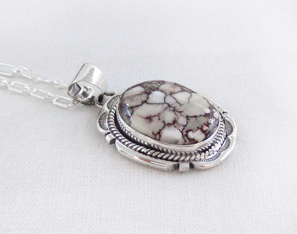 Image 2 of   Big Wild Horse Stone & Sterling Silver Pendant W/Chain Navajo Jewelry - 1207sn