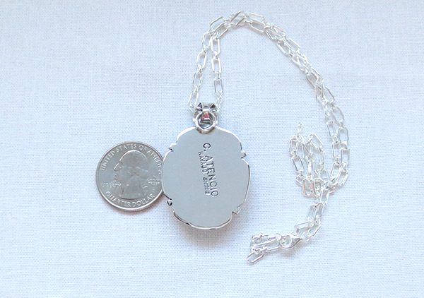 Image 3 of   Big Wild Horse Stone & Sterling Silver Pendant W/Chain Navajo Jewelry - 1207sn