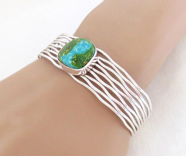 Image 1 of   Turquoise & Sterling Silver Bracelet Native American Jewelry - 1205sn