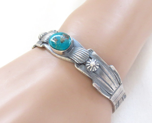 Image 0 of Sterling Silver & Turquoise Bracelet Native American Jewelry - 1216dt