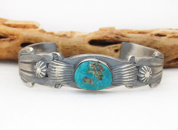 Image 1 of Sterling Silver & Turquoise Bracelet Native American Jewelry - 1216dt