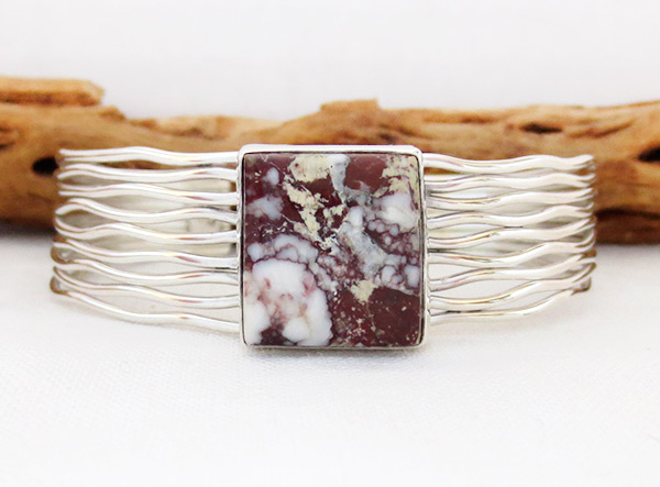 Image 0 of   Wild Horse Stone & Sterling Silver Bracelet Navajo Jewelry - 1209sn