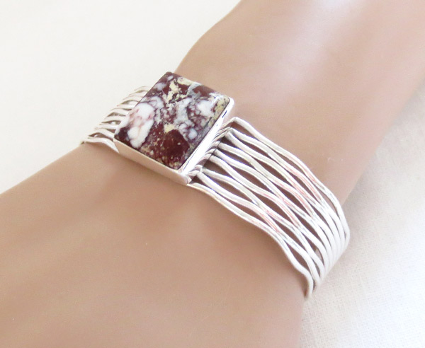 Image 1 of   Wild Horse Stone & Sterling Silver Bracelet Navajo Jewelry - 1209sn