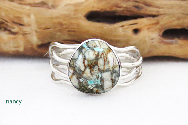 Boulder Turquoise & Sterling Silver Ring Size 9.25 Navajo Jewelry - 1214sn