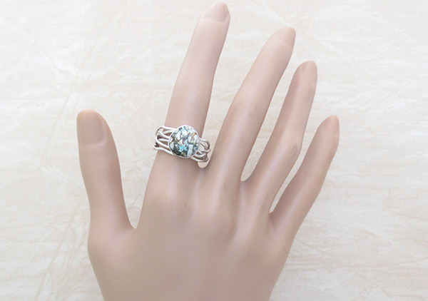 Image 1 of       Boulder Turquoise & Sterling Silver Ring Size 9.25 Navajo Jewelry - 1214sn