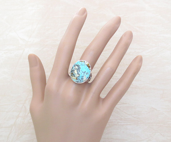 Boulder Turquoise & Sterling Silver Ring Sz 8 Navajo Jewelry - 1208sn