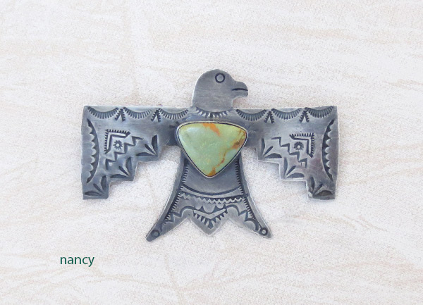 Image 0 of Turquoise & Sterling Silver Thunderbird Pin Navajo Jewelry - 1219sw