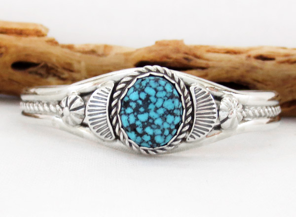 Image 0 of     Kingman Web Turquoise & Sterling Silver Bracelet Navajo Jewelry - 1217dt