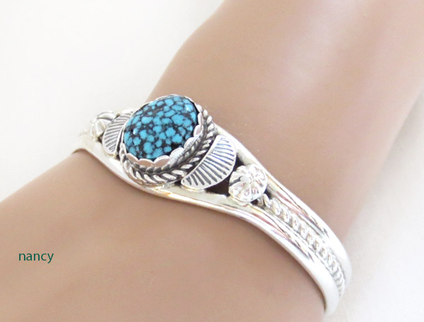 Image 1 of     Kingman Web Turquoise & Sterling Silver Bracelet Navajo Jewelry - 1217dt