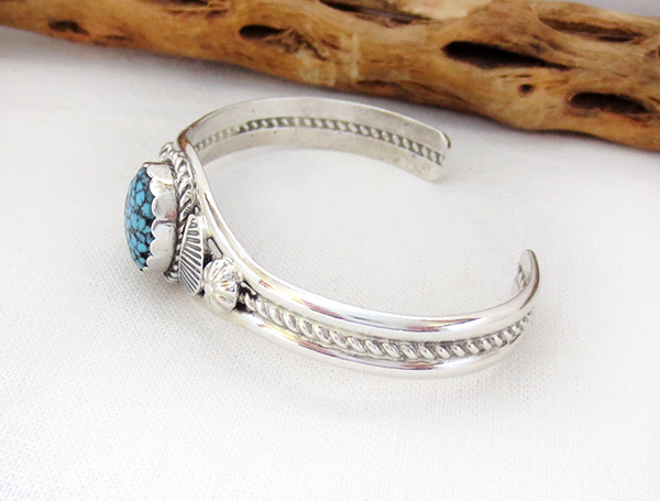 Image 2 of     Kingman Web Turquoise & Sterling Silver Bracelet Navajo Jewelry - 1217dt