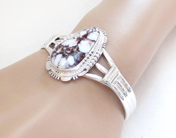 Image 1 of    Big Wild Horse Stone & Sterling Silver Bracelet Navajo Jewelry - 1229sn