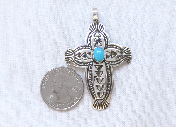 Image 1 of Turquoise & Sterling Silver Cross Pendant Navajo Jewelry - 1228sn