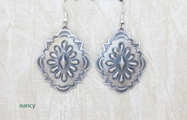 Big Stamped Sterling Silver Repousee Earrings Navajo Jewelry - 1236rio