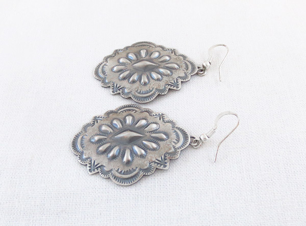Image 1 of      Big Stamped Sterling Silver Repousee Earrings Navajo Jewelry - 1236rio