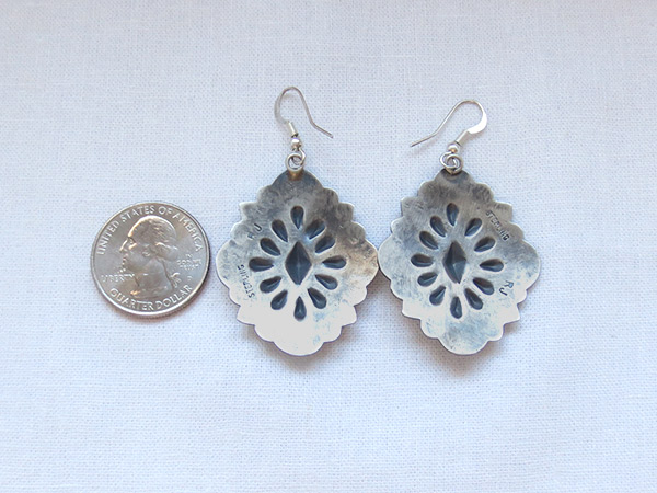 Image 2 of      Big Stamped Sterling Silver Repousee Earrings Navajo Jewelry - 1236rio